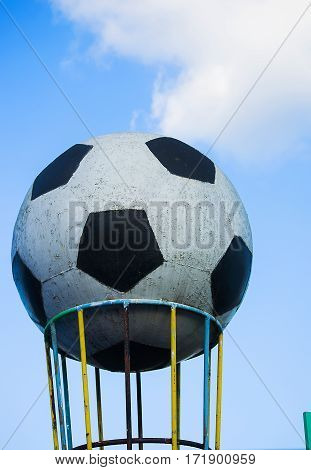symbol great ball near the football stadium on improving the outdoors