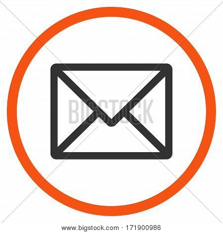 Letter rounded icon. Vector illustration style is flat iconic bicolor symbol inside circle orange and gray colors white background.