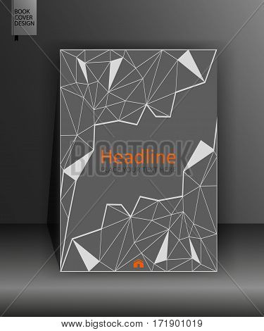 Business cover template in A4. Gray book design in low poly. Annual report with geometrical figures. Vector Illustration.