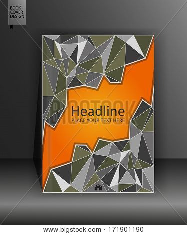 Business cover template in A4. Orange book design in low poly. Annual report with geometrical figures. Vector Illustration.