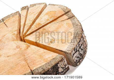 Sawn wood in the form of a pie chart