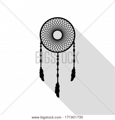 Dream catcher sign. Black icon with flat style shadow path.