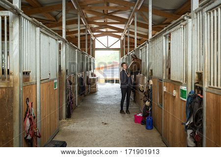 Woman with her Horse in the stable