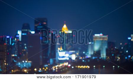 Aerial view blurred bokeh lights city central business area abstract background