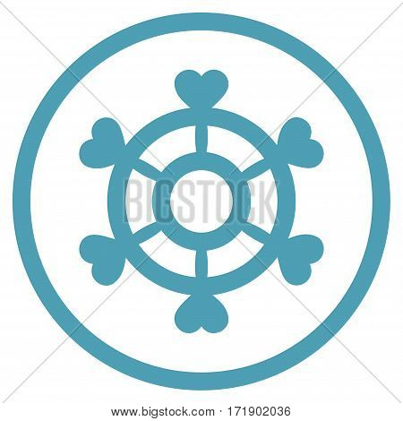Lovely Boat Steering Wheel rounded icon. Vector illustration style is flat iconic bicolor symbol inside circle cyan and blue colors white background.