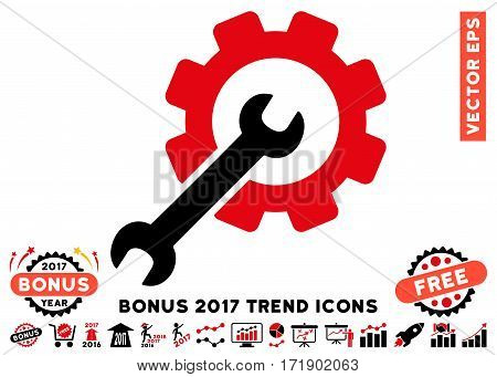 Intensive Red And Black Setup Tools pictograph with bonus 2017 year trend images. Vector illustration style is flat iconic bicolor symbols white background.