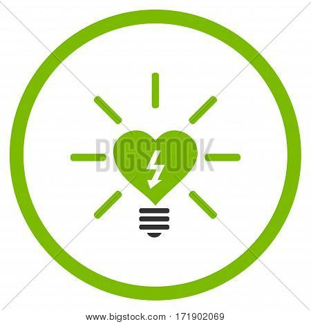 Heart Electric Bulb rounded icon. Vector illustration style is flat iconic bicolor symbol inside circle eco green and gray colors white background.