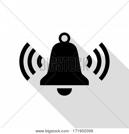 Ringing bell icon. Black icon with flat style shadow path.