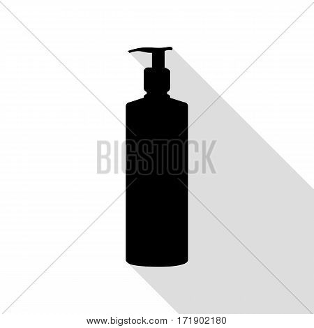 Gel, Foam Or Liquid Soap. Dispenser Pump Plastic Bottle silhouette. Black icon with flat style shadow path.