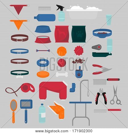 Flat isolated set of dog items elements. Pet icons walking feeding grooming salon equipment. Doggy fashion clothes tools groomer collection healthy nutrition