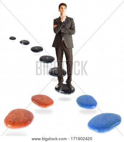 businessman standing at a crossroads, pondering which way to take next.