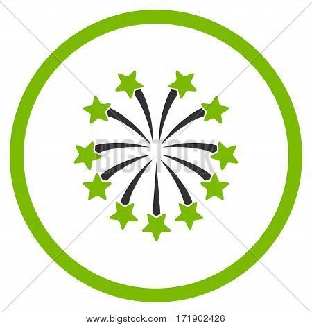 Spherical Fireworks rounded icon. Vector illustration style is flat iconic bicolor symbol inside circle eco green and gray colors white background.
