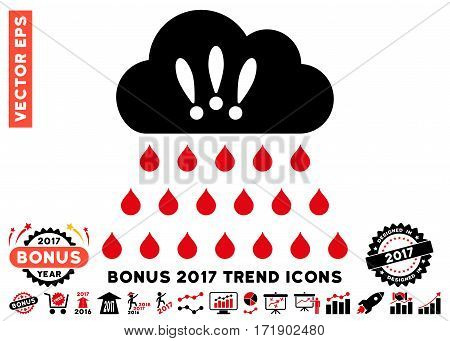 Intensive Red And Black Thunderstorm Rain Cloud icon with bonus 2017 trend elements. Vector illustration style is flat iconic bicolor symbols white background.