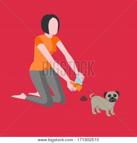 Clean up after your dog. Girl owner is cleaning excrements with a scoop and a paper bag. Shit pet icon, hygiene sign. Animal feces garbage symbol, doggie toilet, woman removes faeces