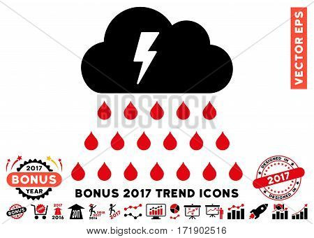 Intensive Red And Black Thunderstorm Rain Cloud icon with bonus 2017 year trend pictograms. Vector illustration style is flat iconic bicolor symbols white background.