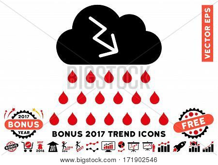 Intensive Red And Black Thunderstorm Rain Cloud icon with bonus 2017 trend images. Vector illustration style is flat iconic bicolor symbols white background.