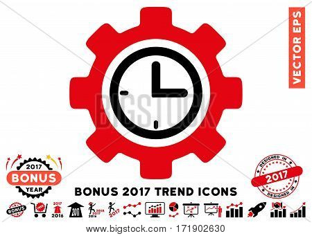 Intensive Red And Black Time Setup Gear pictogram with bonus 2017 trend pictures. Vector illustration style is flat iconic bicolor symbols white background.
