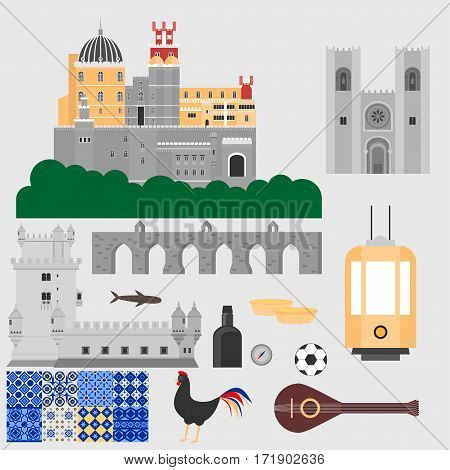 Travel landmark Portugal elements. Flat architecture and building icons Tower Belem, Sintra castle Pena Palace, aqueduct of freedom name Aguas libre and Cathedral of Lisbon. National portuguese symbol fado music, wine porto, traditional tile azulezhu. Des
