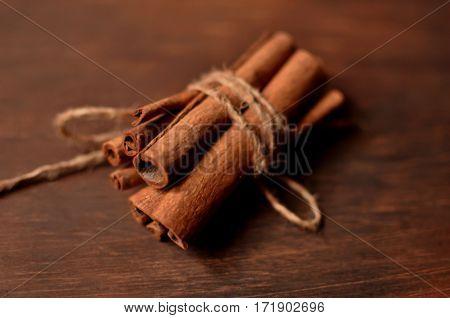The tubes of cinnamon. Aromatic spices - cinnamon