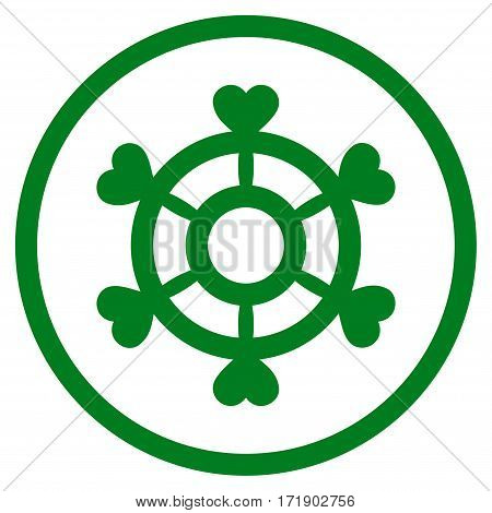 Lovely Boat Steering Wheel rounded icon. Vector illustration style is flat iconic bicolor symbol inside circle green and gray colors white background.