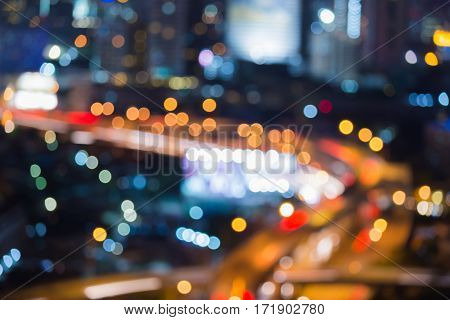 Blurred bokeh light top view city highway abstract background
