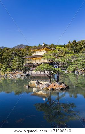 Kinkaku-ji called Golden Pavilion) is a Zen Buddhist temple in Kyoto Japan. Historic landmark in japan.