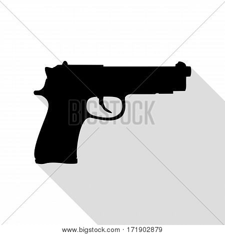 Gun sign illustration. Black icon with flat style shadow path.