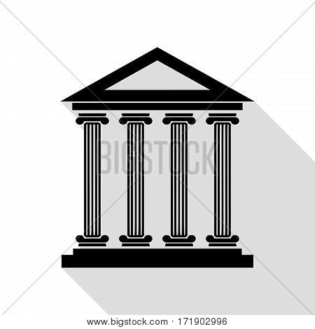 Historical building illustration. Black icon with flat style shadow path.