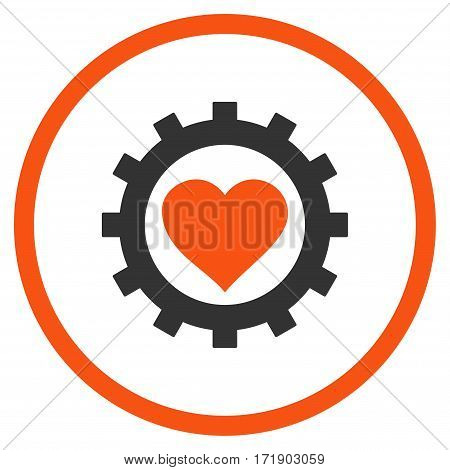 Love Heart Options Gear rounded icon. Vector illustration style is flat iconic bicolor symbol inside circle orange and gray colors white background.