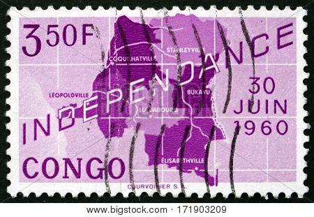 CONGO - CIRCA 1960: a stamp printed in Congo shows Map of Congo Congo's independence circa 1960