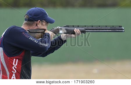Rio Brazil - august 10 2016: Usa Player during Double Trap Men at Olympic Games 2016 in Olympic Shooting Centre Deodoro