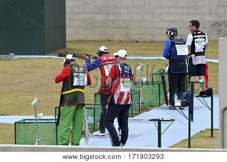 Rio Brazil - august 10 2016: William Chetcuti (MLT) during Double Trap Men at Olympic Games 2016 in Olympic Shooting Centre Deodoro