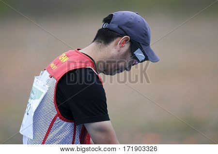 Rio Brazil - august 10 2016: HU Binyuan (CHN) during Double Trap Men at Olympic Games 2016 in Olympic Shooting Centre Deodoro
