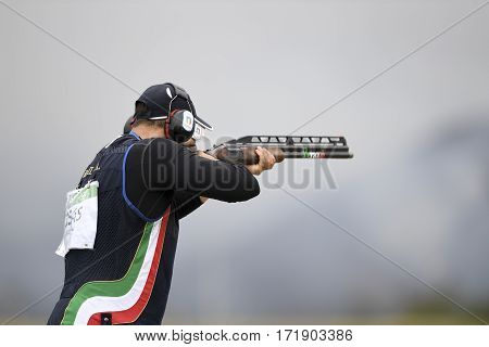 Rio Brazil - august 10 2016: BARILLA Antonino (ITA) during Double Trap Men at Olympic Games 2016 in Olympic Shooting Centre Deodoro