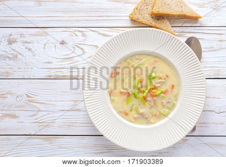 Traditional Nigerian Mixed Vegetable Soup With Corn Fleur