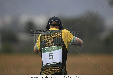 Rio Brazil - august 10 2016: WILLETT James (AUS) during Double Trap Men at Olympic Games 2016 in Olympic Shooting Centre Deodoro