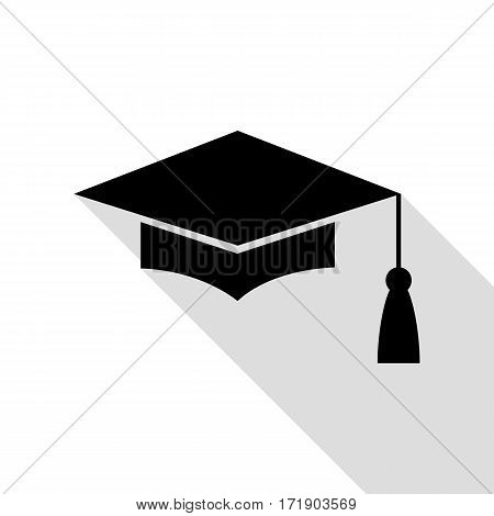 Mortar Board or Graduation Cap, Education symbol. Black icon with flat style shadow path.