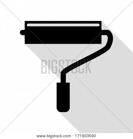 Roller sign illustration. Black icon with flat style shadow path.