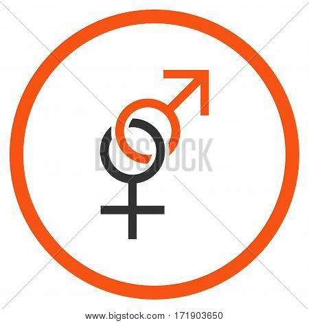 Sex Symbol rounded icon. Vector illustration style is flat iconic bicolor symbol inside circle orange and gray colors white background.