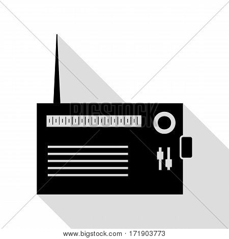 Radio sign illustration. Black icon with flat style shadow path.