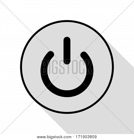 On Off switch sign. Black icon with flat style shadow path.