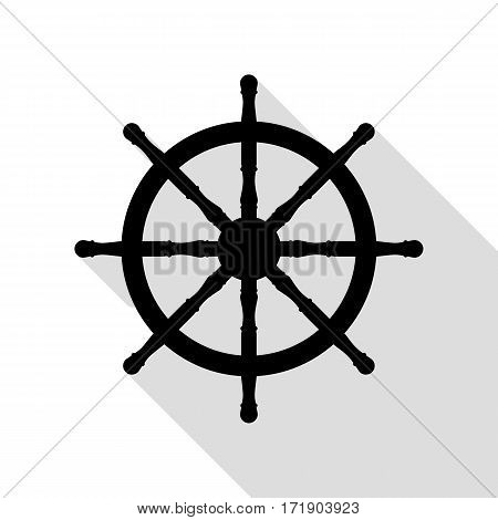 Ship wheel sign. Black icon with flat style shadow path.