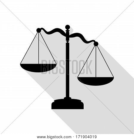 Scales of Justice sign. Black icon with flat style shadow path.