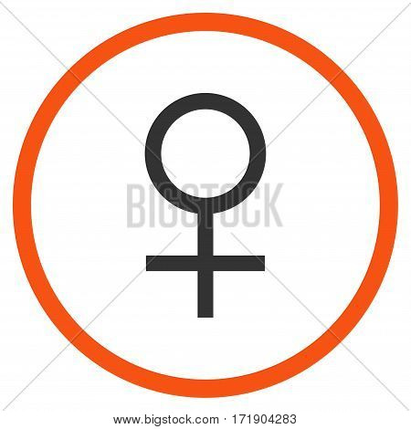 Venus Female Symbol rounded icon. Vector illustration style is flat iconic bicolor symbol inside circle, orange and gray colors, white background.