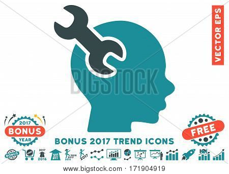 Soft Blue Brain Service Wrench icon with bonus 2017 trend clip art. Vector illustration style is flat iconic bicolor symbols white background.