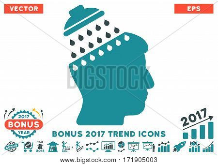 Soft Blue Brain Shower pictograph with bonus 2017 trend pictograph collection. Vector illustration style is flat iconic bicolor symbols white background.