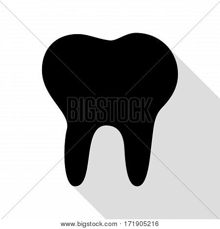 Tooth sign illustration. Black icon with flat style shadow path.