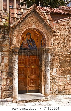 Greek Orthodox church in Athens, Greece. Church of Panaghia Kapnikarea. One of the oldest Christian churches in Athens.