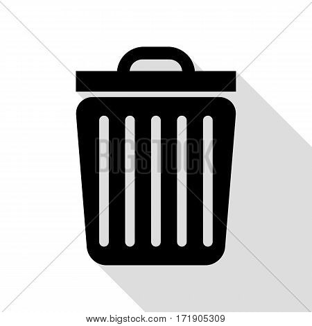 Trash sign illustration. Black icon with flat style shadow path.
