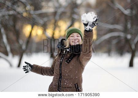 Young Woman Having Fun In Winter